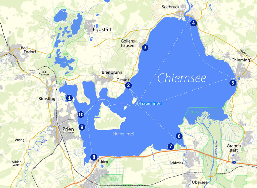 Chiemsee Karte.Badeplätze Rund Um Den Chiemsee Prien Am Chiemsee