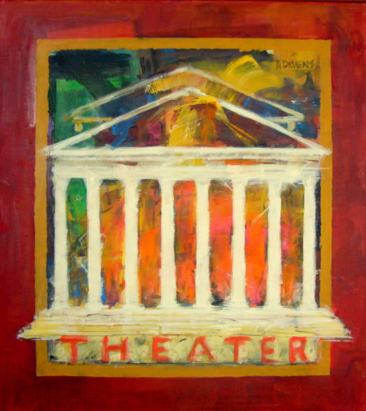 Rainer Devens, Theater, Acryl/LW, 90 x 80 cm